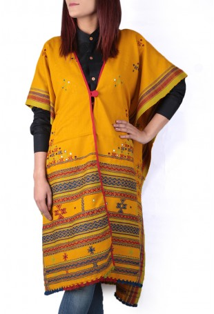 Dark yellow mirror embroidered white pure wool cape with pocket