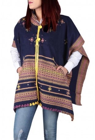 Blue & multi-color mirror embroidered white pure wool cape with pocket