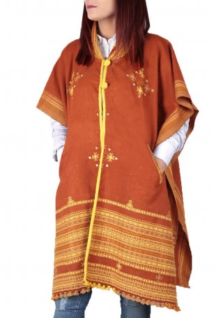Light brown mirror embroidered white pure wool cape with pocket