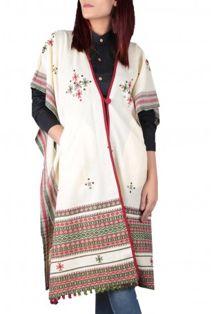 Off white & multi-color mirror embroidered white pure wool cape with pocket