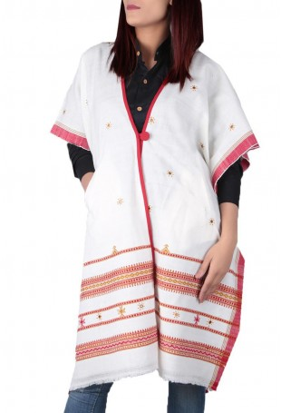 White mirror embroidered white pure wool cape with pocket