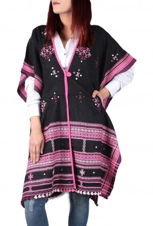 Black & pink mirror embroidered white pure wool cape with pocket