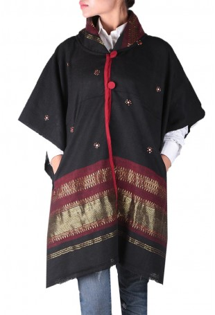 Black & maroon mirror embroidered white pure wool cape with pocket