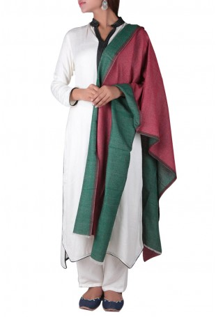 Green & maroom reversible stole