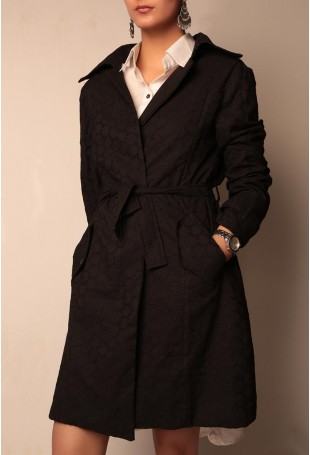 Black shifley trench coat with metallic embellishments and belt