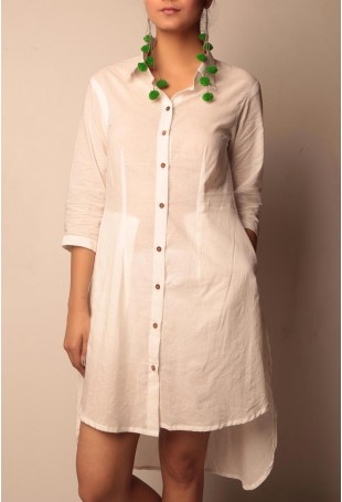 Cotton A-symmetrical white shirt dress with wooden buttons