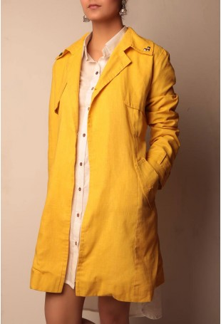 Yellow cotton linen front open trench coat with metallic embellishments
