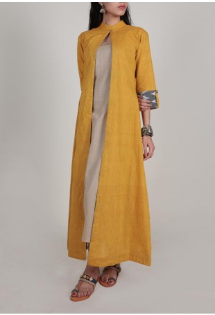 Mustard Cape And Dress with Three fold Ikat Sleeves
