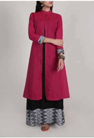 Two piece Magenta and Black Front Open Ikat Cape And Maxi Dress