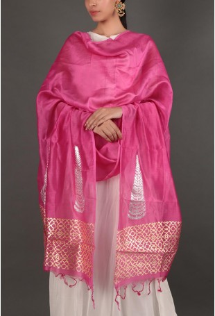 Fuschia Pink Dupatta With Gold And Silver Foil Details