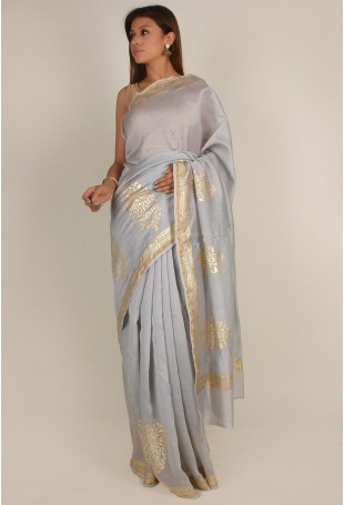Handloom Pure Silk Cotton Chanderi Saree in Grey and Gold