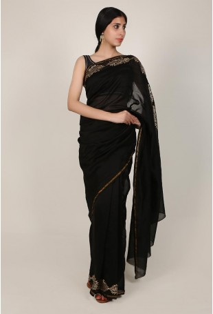 Handloom Pure Silk Cotton Chanderi Saree in Black and Gold
