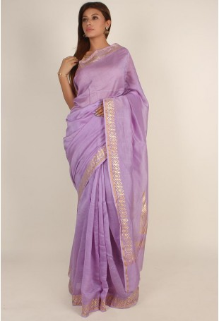 Handloom Pure Silk Cotton Chanderi Saree in Lavender and Gold