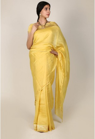 Handloom Pure Silk Cotton Chanderi Saree in Sunflower Yellow and Gold