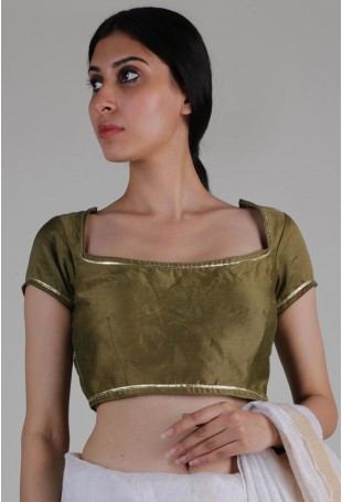 Green Chanderi Silk Padded Blouse With Gota