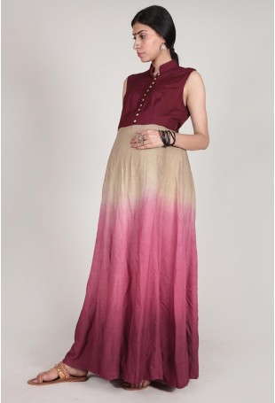 Maroon And Barley White Rayon Ombre Dyed Maxi Dress