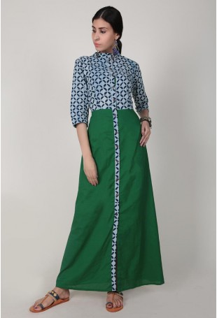 Blue & Green Hand Block Printed Bagru Maxi Dress With Front Buttons