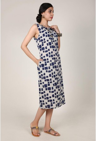 Square Print Bagru Straight Fit Midi Dress