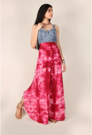 Rose Pink Clamp Dyed Palazzo