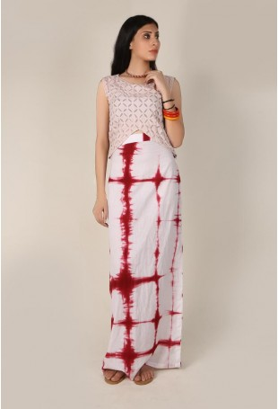 White and Red Clamp Dyed Straight Skirt