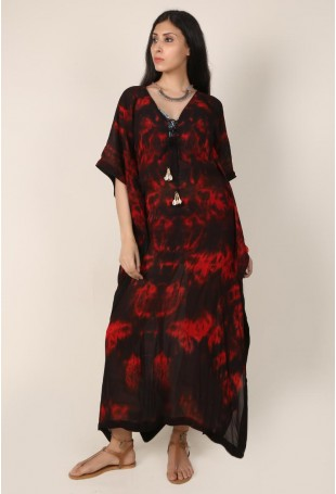 Black and Red Clamp Dyed Shell Kaftan