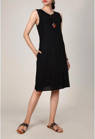 Black Chikankari Dress With Tassels