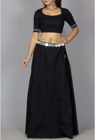 Skirt with open back padded blouse