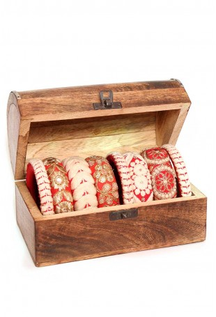 Afsana embroidered bangle set-2.8 with box
