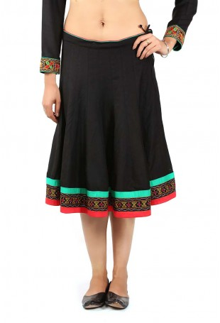 Black-red-green Gujarati embroidered skirt