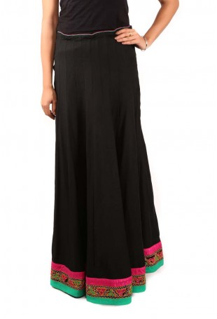Black-pink-green Gujarati embroidered long skirt