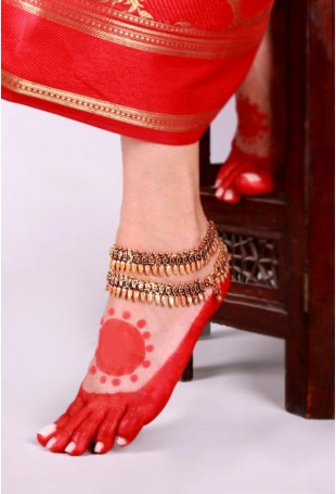 Frah Gold-plated Ghunghroo Lambani Double-layered Anklets