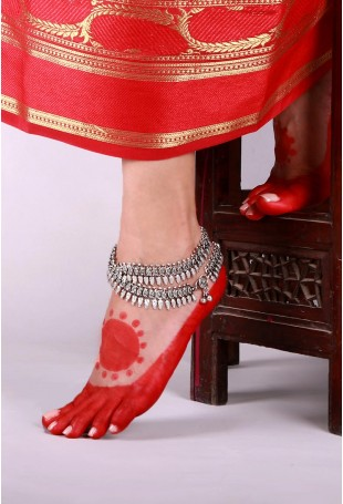 Silver-plated Ghunghroo Lambani Double-layered Anklets