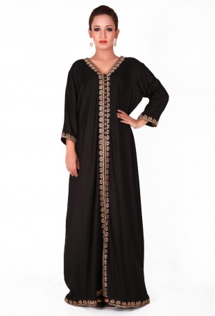 Black Kaftan with Tilla inspired Embroidery in geometric Pattern