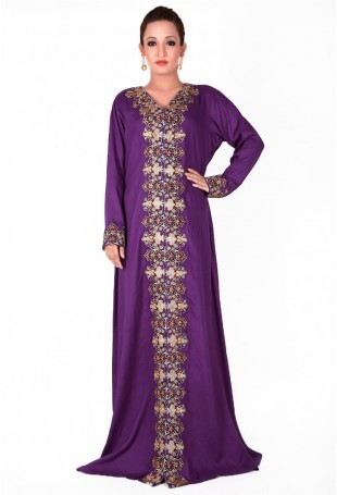 Purple Kaftan with Tilla Embroidery along the neck and front