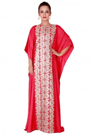 Red Kaftan with Tilla Embroidery along the front and sleeves