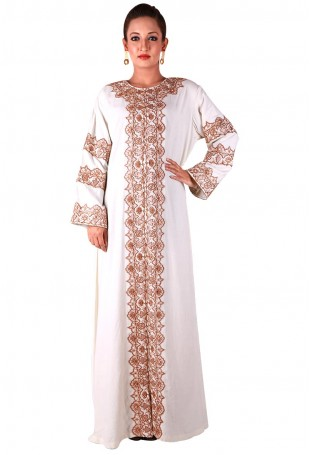 Cream Kaftan with Tilla Embroidery on neck, front and sleeves