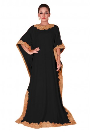 Black Kaftan with Tilla Embroidery on Neck and Sleeves