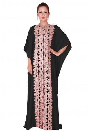Black Kaftan with Tilla Emboidery along the front