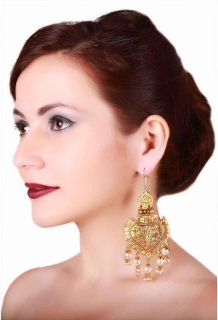 24K Gold plated (99.9%) silver Nama dangler earrings with large pendants and pearl drops