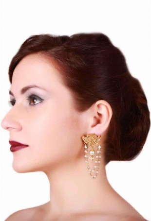 24K Gold plated (99.9%) silver Nama  earrings with pearl strings