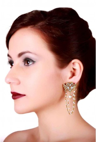 24K Gold plated (99.9%) silver Nama dual tone earrings with pearl strings
