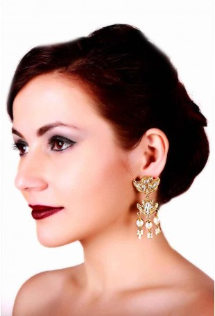 24K Gold plated (99.9%) silver Nama dual tone peacock motif earrings with pearl drops