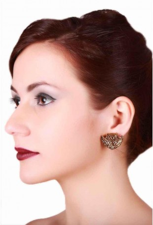 24K Gold plated (99.9%) silver Nama stud earrings with small floral motif