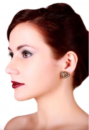 24K Gold plated (99.9%) silver Nama stud earrings with small peacock motif