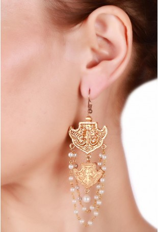 24K Gold plated (99.9%) silver Nama with a bird motif in golden braid earrings