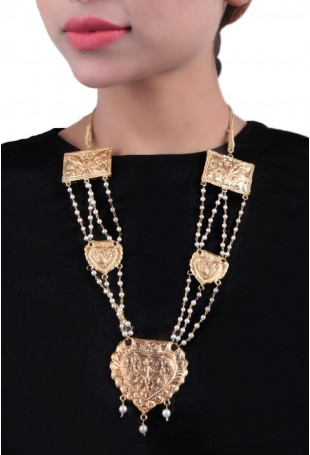 24K Gold plated (99.9%) silver Nama gold plated neckpiece with peacock motif and pearl chain hanging (5pieces)