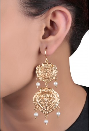 24K Gold plated (99.9%) silver Nama gold plated drop earring with floral motif