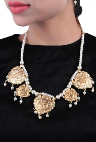 24K Gold plated (99.9%) silver Nama gold plated neckpiece with peacock motif and pearl chain hanging (5 pieces)