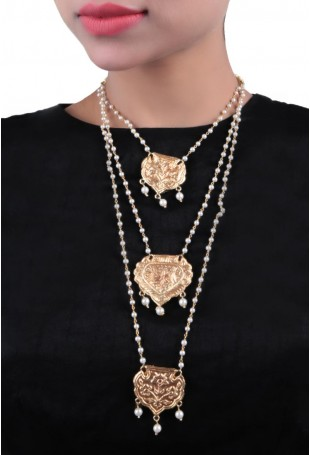 24K Gold plated (99.9%) silver Nama gold plated neckpiece with pearl drop and pearl chain hanging (3 pieces)