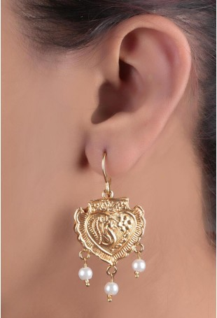 24K Gold plated (99.9%) silver Nama gold plated earring with peacock motifs and pearl drop